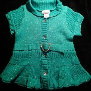 Sweater blouse, turquoise with silver sparkles.